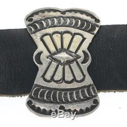 Vintage Navajo Native American Concho Belt Sterling Silver Floral Black Leather