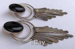 Vintage Navajo Old Pawn Sterling Silver Black Onyx Dangle Chandelier Earrings