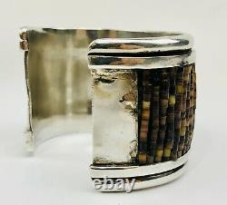 Vintage Navajo Pawn Sterling Silver Heishi Shell Turquoise Wide Cuff Bracelet