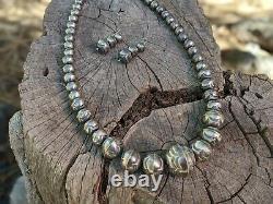 Vintage Navajo Pearls Necklace Earrings Set Native American Jewelry