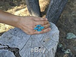 Vintage Navajo Ring Spiderweb Turquoise Sterling Native American Jewelry 8 1/4