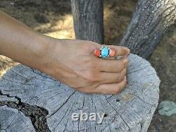 Vintage Navajo Ring Turquoise Apple Coral Silver Native American Jewelry sz 6.5