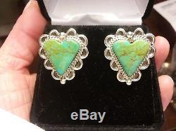 Vintage Navajo Royston Turquoise Heart Cut Sterling Silver Earrings