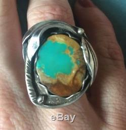 Vintage Navajo Royston Turquoise Stone Sterling Silver Ring Sz 8.5