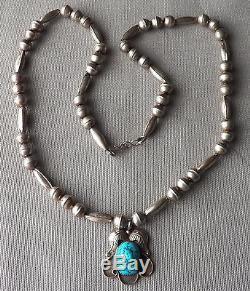 Vintage Navajo Silver Bench Bead Necklace Seafoam Turquoise Foliate Pendant