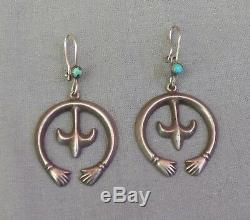Vintage Navajo Silver Turquoise Naja with Hands Pierced Drop Dangle Earrings