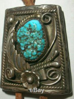 Vintage Navajo Southwestern Bennett Old Pawn Sterling Silver Bolo Turquoise