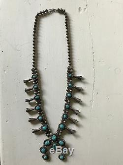 Vintage Navajo Squash Blossom Necklace Turquoise Sterling Silver 27