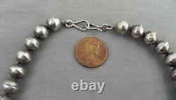 Vintage Navajo Stamped Tapered Silver Bead Choker Necklace