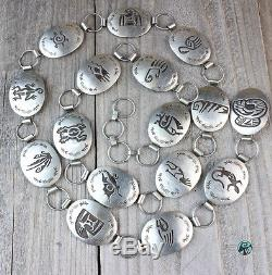 Vintage Navajo Sterling Silver. 925 Overlay Native American jewelry Concho Belt