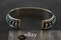 Vintage Navajo Sterling Silver Cuff Bracelet with Turquoise Gemstones 28.3g