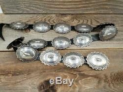 Vintage Navajo Sterling Silver Hand Tooled Concho Belt 14 Conchos 36