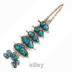 Vintage Navajo Sterling Silver Kingman Turquoise Squash Blossom Necklace