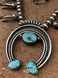 Vintage Navajo Sterling Silver Kingman Turquoise Squash Blossom Necklace 28