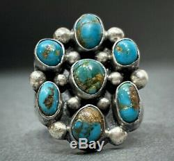 Vintage Navajo Sterling Silver Royston Turquoise Cluster Ring Gorgeous Stones