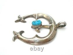 Vintage Navajo Sterling Silver Sand Cast Pendant With Blue Turquoise Jewelry 925
