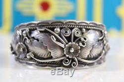 Vintage Navajo Sterling Silver Signed F James Prewitt, NM Cuff Bracelet