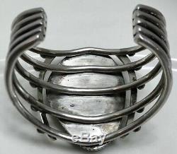 Vintage Navajo Sterling Silver Spiderweb Turquoise Cuff Bracelet Heavy