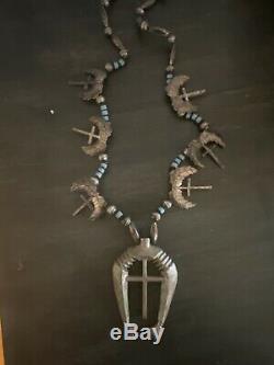 Vintage Navajo Sterling Silver Squash Blossom Hands Naja Crosses Necklace