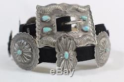 Vintage Navajo Sterling Silver & Turquoise Concho Belt