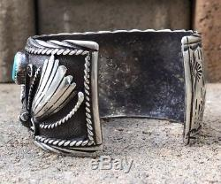 Vintage Navajo Sterling Silver Turquoise & Coral Chip Wide Inlay Cuff Bracelet P