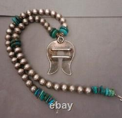 Vintage Navajo Sterling Silver & Turquoise Naja & Bead Necklace