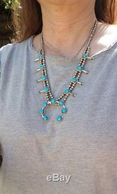 Vintage Navajo Sterling Silver Turquoise Squash Blossom Necklace Set