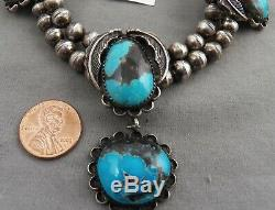 Vintage Navajo Sterling and Turquoise Choker Hollow Bead Necklace