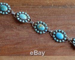 Vintage Navajo Turquoise Cluster Sterling Silver Concho Belt