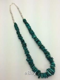 Vintage Navajo Turquoise Nugget Sterling Silver Bead Necklace