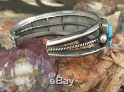 Vintage Navajo Turquoise Old Pawn Square Cut Row Bracelet Sterling Silver Cuff