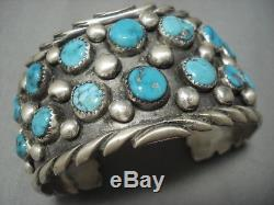 Vintage Navajo Turquoise Sterling Silver Bracelet Old Pawn