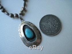 Vintage Navajo Turquoise and Sterling Silver Shadowbox Necklace 17 inches
