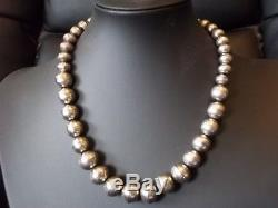 Vintage Navajo pearls graduated stamped sterling silver necklace
