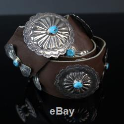Vintage Navajo turquoise Sterling silver CONCHO belt Native American jewelry