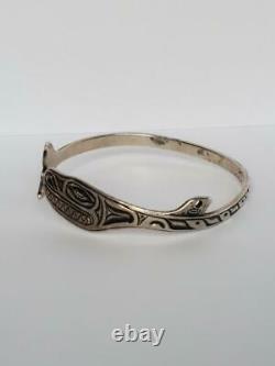 Vintage Northwest Coast Sterling Silver Mag Whale Wrap Bangle Bracelet