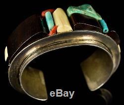 Vintage Old Pawn HOPI Or Navajo SIGNED DN Modernist Cobblestone Inlay Bracelet
