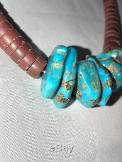 Vintage Old Pawn Heishi Necklace with Vibrant Turquoise Nuggets 16.25 Inches 23g
