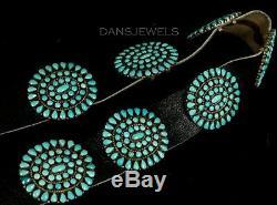 Vintage Old Pawn NAVAJO Petit Point Belt Turquoise Sterling Conch Belt