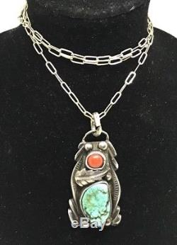 Vintage Old Pawn NAVAJO Sterling Turquoise Coral Handmade Pendant & Necklace