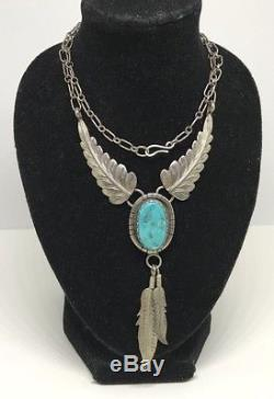 Vintage Old Pawn NAVAJO Sterling Turquoise Feather Handmade Pendant & Necklace