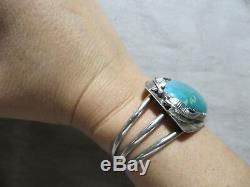 Vintage Old Pawn N. American Large Turquoise/Leafs Sterling Cuff Bracelet