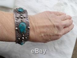 Vintage Old Pawn Native Indian Navajo Turquoise Silver Stamped Cuff Bracelet