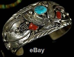Vintage Old Pawn Navajo Allen Chee Turquoise Coral EAGLE Sterling Bracelet