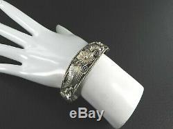 Vintage Old Pawn Navajo Cuff Bracelet Southwestern Solid 925 Sterling Silver 6.2