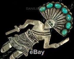 Vintage Old Pawn Navajo Martha Cayatineto Turquoise Kachina Sterling Bolo Tie
