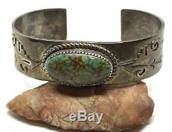 Vintage Old Pawn Signed JS Stamped Sterling Spiderweb Turquoise CUFF Bracelet