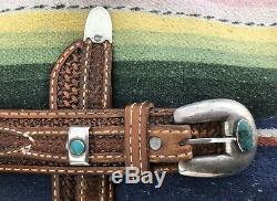 Vintage Old Pawn Silver Turquoise Ranger Set Leather Belt Buckle