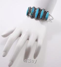 Vintage Old Pawn Sterling Silver Native American Turquoise Cuff Bracelet