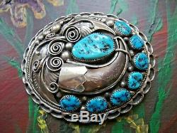 Vintage Old Pawn Turquoise & Faux Claw Sterling Silver Belt Buckle by Apachito